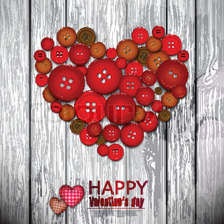 Red heart made from red buttons