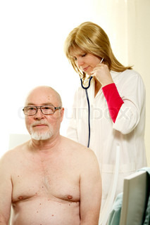 young doctor listening to naked senior's lungs against white background
