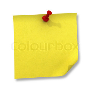 Yellow sticky note and red push pin isolated on white background with shadow