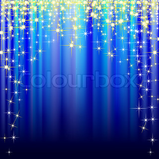 Illustration of festive blue background with gold stars. Vector.