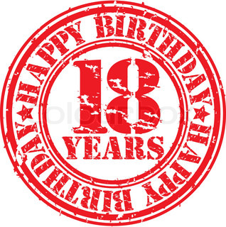 Grunge 18 years happy birthday rubber stamp, vector illustration