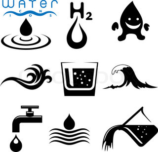 water icon and sign set