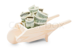 wooden Wheelbarrow with dollars