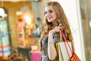 portrait of a beautiful woman in a shopping center