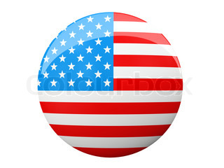 Button with American flag