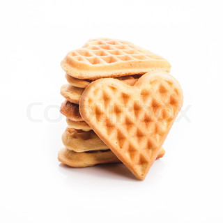 Stack of heart shaped waffles