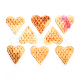 Eight heart shaped waffles