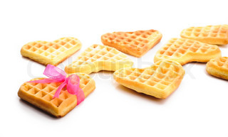 Heart shaped waffles with pink ribbon