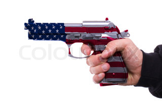 Pistol with USA flag pattern in hand