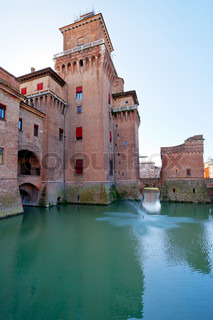 side view of moat and Castello Estense in Ferrara,