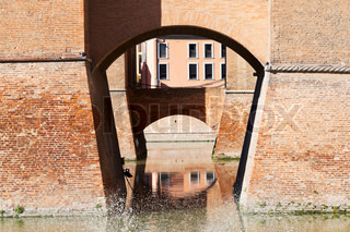 moat and bridges of Castle Estense in Ferrara