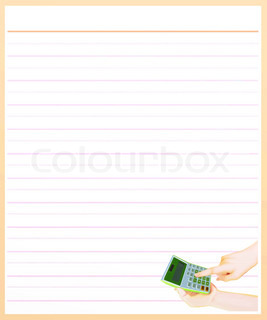 Hand With A Calculator On Brown Color Lined Paper  Color Lined Paper