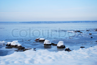 Rocks at winter coast