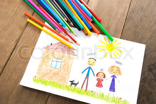 kids drawing happy family near their house