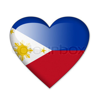 Philippines flag in heart shape isolated on white background