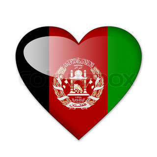 Afghanistan flag in heart shape isolated on white background