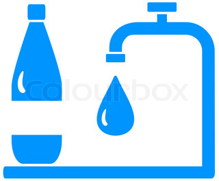 icon with bottle, tap and drop silhouette - symbol of drinking water