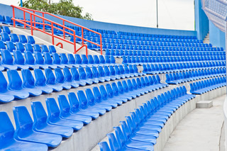 Plastic blue seats in a stadium in Thailand