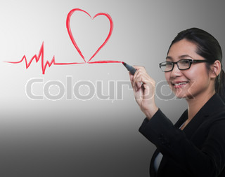 drawing heart breath line, Medical concept