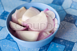 Sliced onion in the bowl