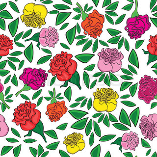Seamless flower background with colorful rose and leaves, element for design, vector illustration.