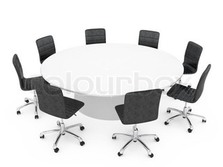 office chairs around a round table isolated on white background