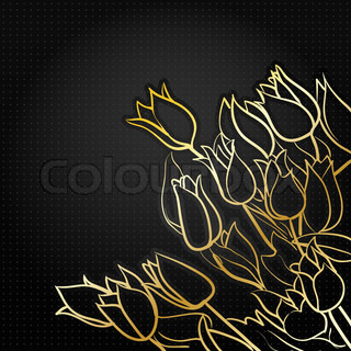black floral background with golden tulips