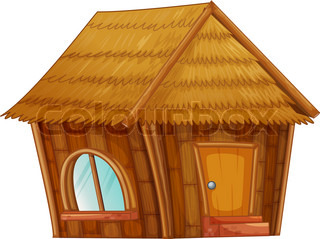 Cartoon straw house. Vector clip art illustration with ...