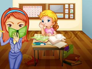 a girl and teacher in classroom