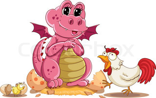 illustration of hen, chicken and baby dinosaur