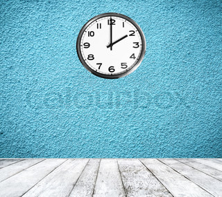 Retro room with clock on wall