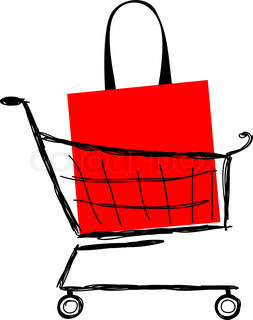 Shopping cart full of gift boxes and shopping bags with sale ...