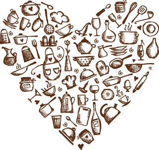 love cooking! Kitchen utensils sketch, heart shape for your design