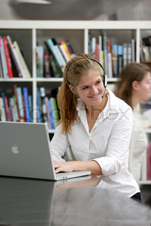 A female college student in a university library
