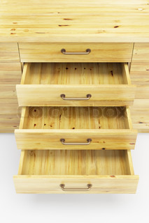 cupboard with opened drawers