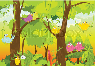 birds in forest