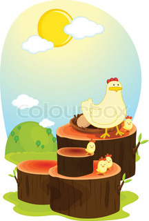 hen on log