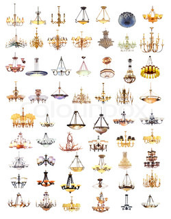 An image of 17 different shapes of chandelier | Stock Photo ...:... chandelier and lamp isolated on white background ...,Lighting