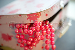 Pink pearls in a box