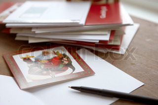 Pile of traditional Christmas cards