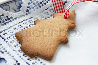 Christmas cookie with a ribbon