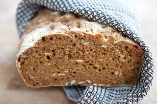 Nærbillede af nybagt brød med kerne