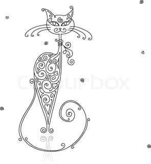 Art cat silhouette for your design