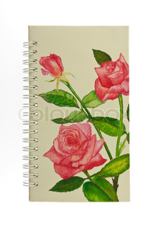 cover notebook with rose pattern isolated