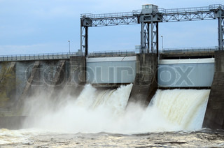 Water pouring out of the hatches in a hydroelectric power station