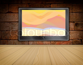 lcd TV screen on brick wall background and wood floor ,room interior