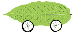 drawingwheel and green leaf on white background isolated