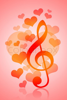 Love and Music, Valentines Day background with hearts and musical symbol