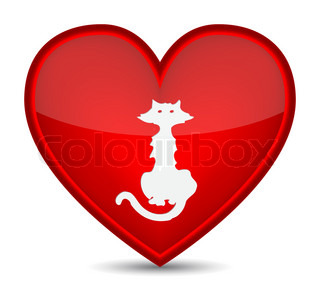 Cat icons on red heart shape