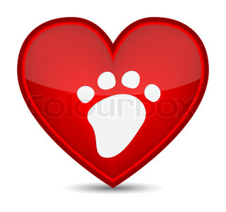 Paw icons on red heart shape